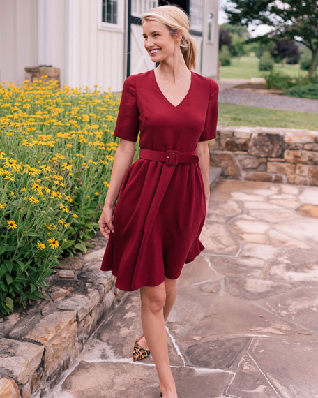 Gal Meets Glam Collection V-Neck Elbow-Sleeve Fit-&-Flare Belted Box Weave Crepe Dress