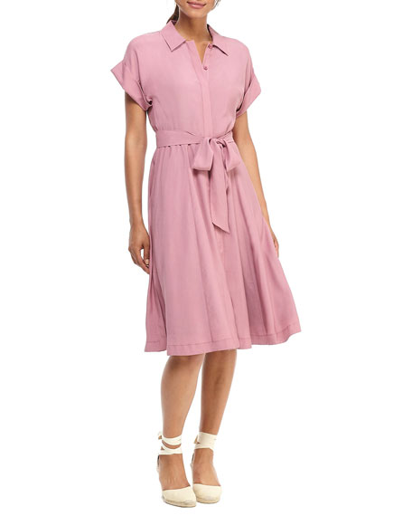 Gal Meets Glam Collection Feather Faille Short-Sleeve Shirtdress
