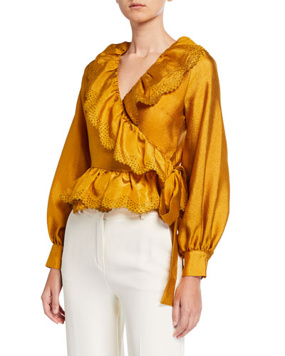 Carly Embroidered Long-Sleeve Wrap Blouse
