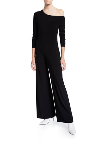 Norma Kamali Long-Sleeve Drop Shoulder Wide-Leg Jumpsuit