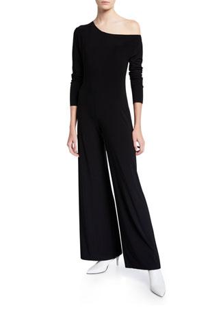 Norma Kamali Long-Sleeve Drop Shoulder Wide-Leg Jumpsuit