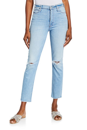 MOTHER The Dazzler Straight-Leg Ankle Jeans