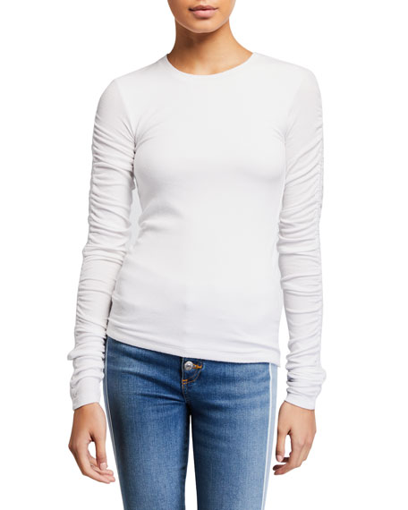 Veronica Beard Clement Ruched Long-Sleeve Top