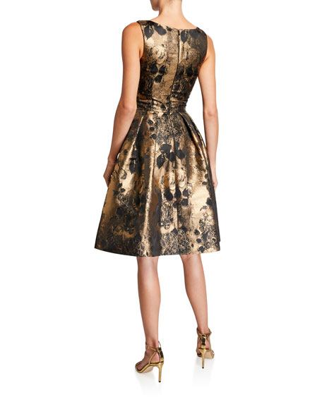 Theia V-Neck Sleeveless Cocktail Dress with Appliques