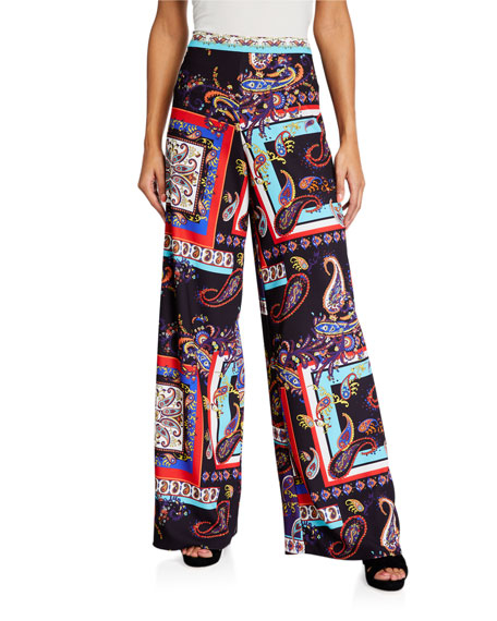 Alice + Olivia Athena Printed Wide-Leg Pants