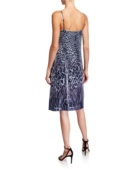 Elie Tahari Yesmina Coated Animal-Print Slip Dress