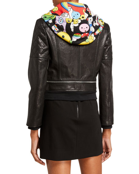 Alice + Olivia Friends With You X Alice + Olivia Avril Hooded Leather Jacket w/ Sweatshirt