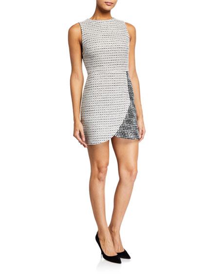 Alice + Olivia Sally Side-Zip Tweed Mini Dress