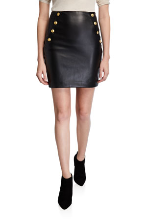 Generation Love Adi Faux-Leather Mini Skirt with Buttons