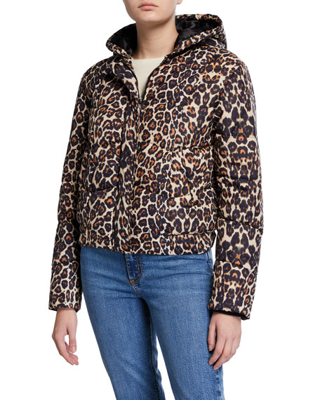 Image 2 of 3: Generation Love Liam Hooded Leopard-Print Puffer Jacket