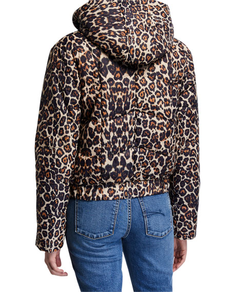 Image 3 of 3: Generation Love Liam Hooded Leopard-Print Puffer Jacket