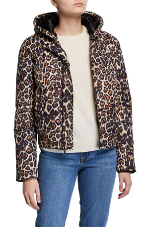 Generation Love Liam Hooded Leopard-Print Puffer Jacket