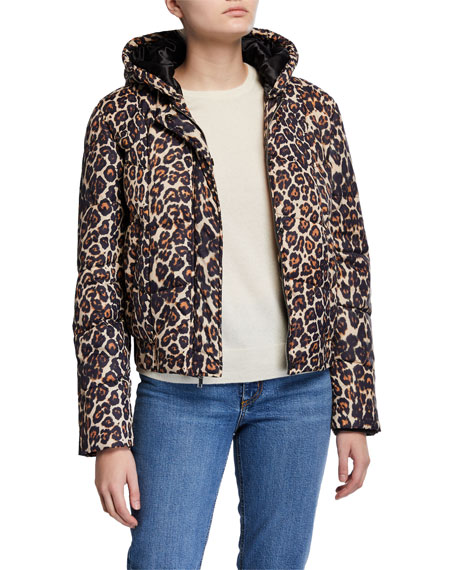 Image 1 of 3: Generation Love Liam Hooded Leopard-Print Puffer Jacket