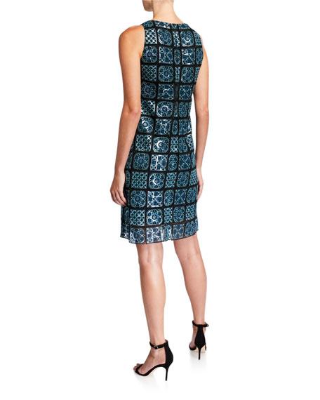 Elie Tahari Helena Mosaic Tile Sleeveless Sheath Dress
