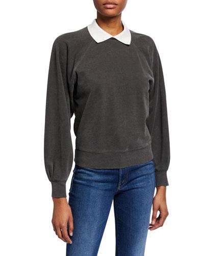 Collared Puff-Sleeve Prep Sweatshirt