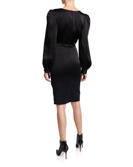 Sachin & Babi Anais V-Neck Long-Sleeve Drape Dress w/ Front Bow