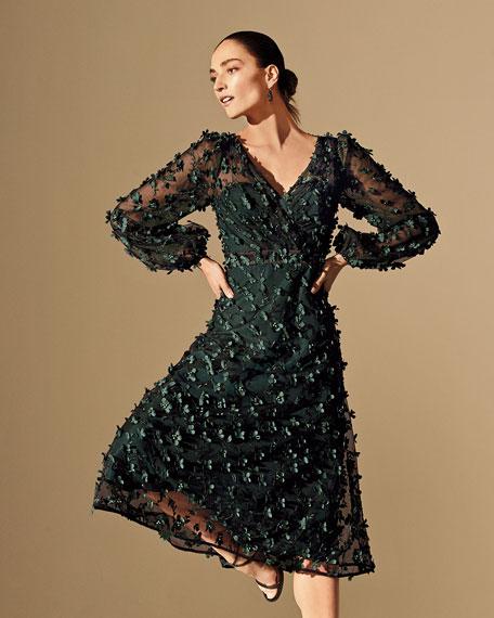 Carmen Marc Valvo Infusion Floral Embellished V-Neck Long-Sleeve Midi Dress