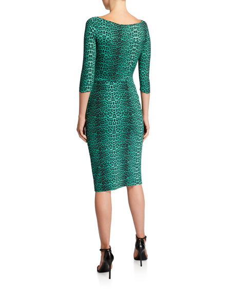 Chiara Boni La Petite Robe 3/4-Sleeve Animal-Print Ruched Cocktail Dress