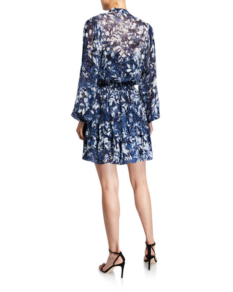 Shoshanna Alura Printed Blouson-Sleeve Smock-Waist Dress
