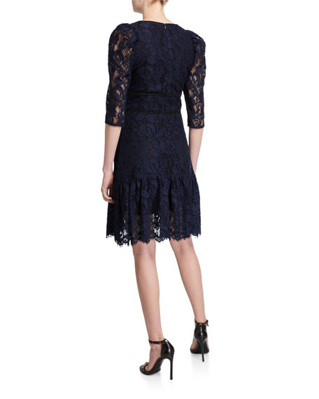 Shoshanna Miran V-Neck 1/2-Sleeve Lace A-Line Dress