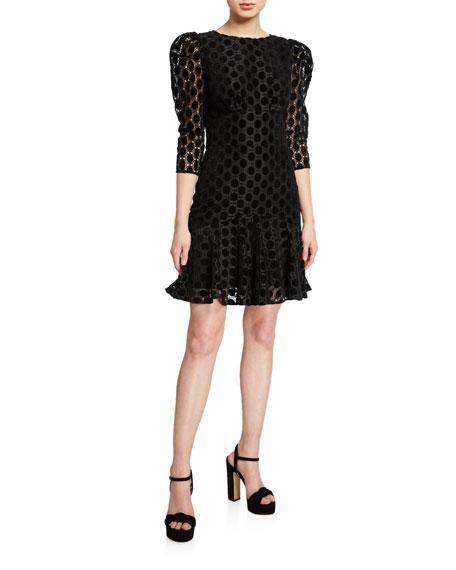 Shoshanna Malaya Geo Velvet Lace 3/4-Sleeve Short Dress
