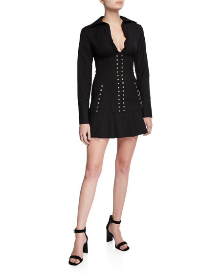 I.AM.GIA Molly Long-Sleeve Eyelet-Detail Dress