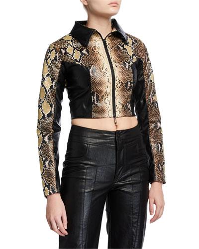 Alabama Faux-Leather Cropped Snake Jacket