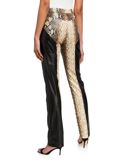 I.AM.GIA Penelope Snake-Print Panel Faux-Leather Lace Up Pants