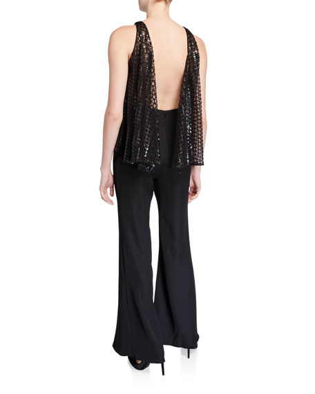 SHO Sleeveless Wide-Leg Jumpsuit with Sequin Top & Crepe Bottom