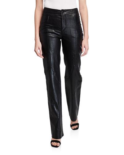 York Faux-Leather Moto Pants