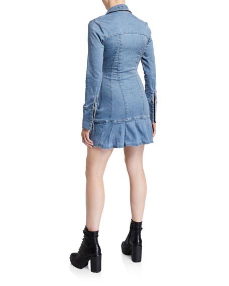 I.AM.GIA Molly Long-Sleeve Denim Flounce Dress