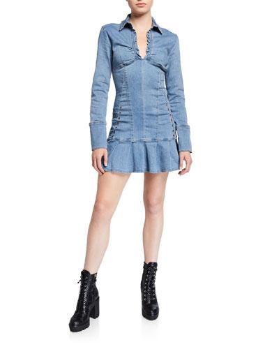 Molly Long-Sleeve Denim Flounce Dress