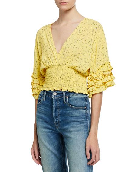Faithfull the Brand Gisela Floral-Print Linen Smocked Top