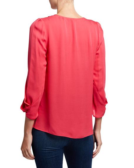 Kobi Halperin Camryn V-Neck Draped Sleeve Silk Blouse
