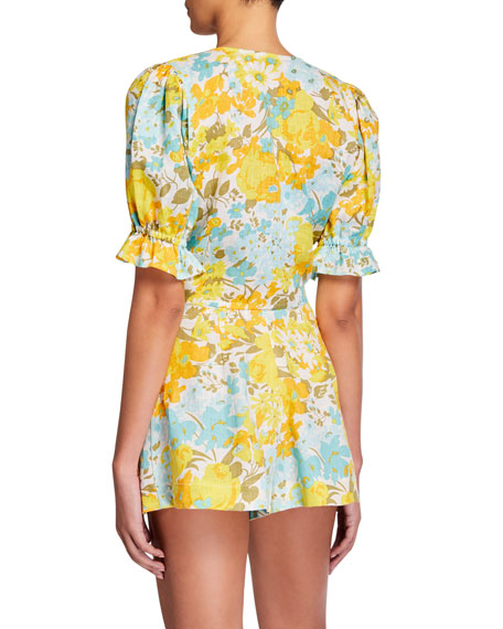 Faithfull the Brand Jamais Floral-Print Linen Wrap Top