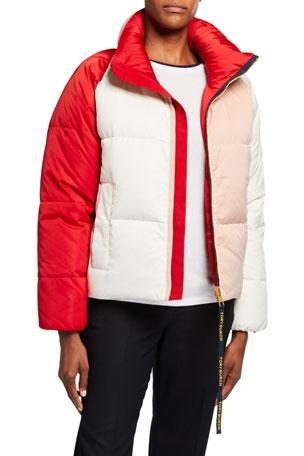 Tory Burch Colorblock Reversible Puffer Jacket