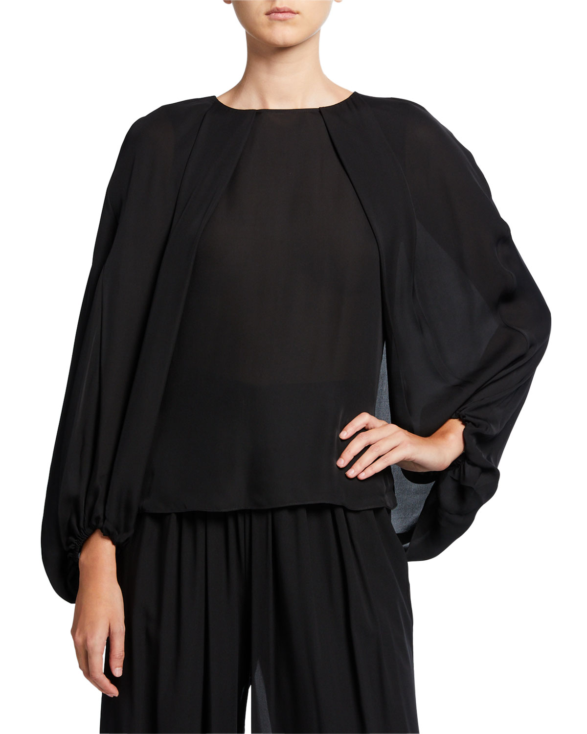 Kobi Halperin Isa Voluminous Sleeve Silk Blouse