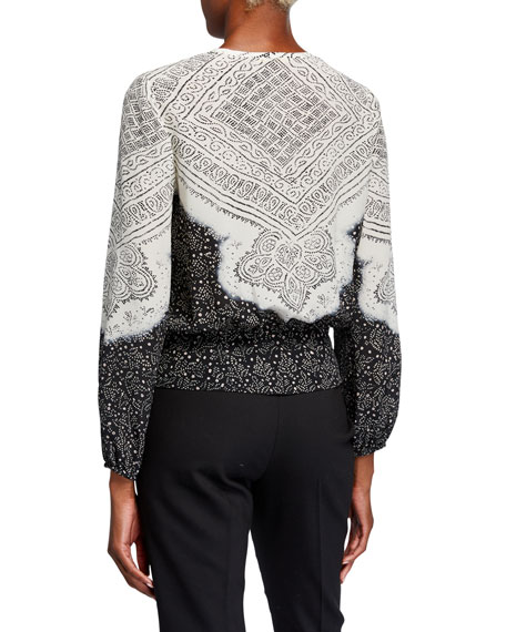 Kobi Halperin Alyssa Bleached Long-Sleeve Tie-Front Silk Blouse