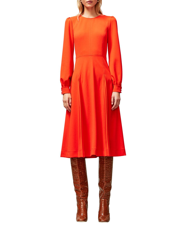 Tory Burch Long-Sleeve Stitched Knit Crepe Dress