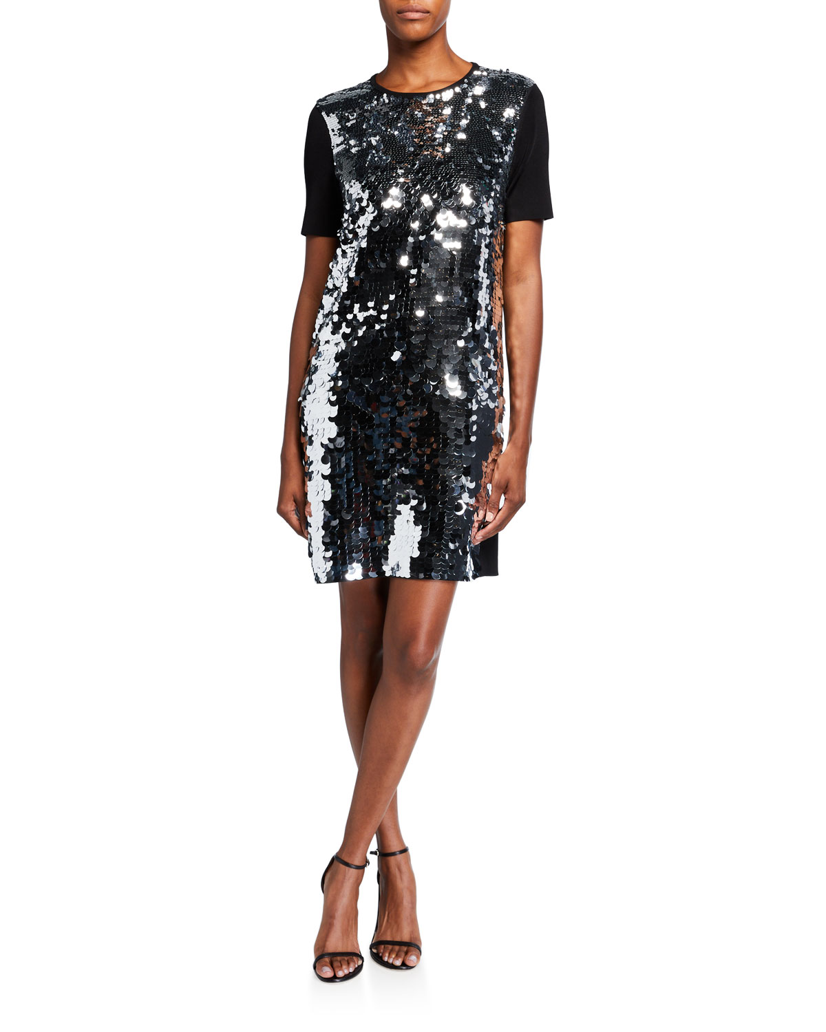 Tory Burch Sequin Front Short-Sleeve Sweater Dress