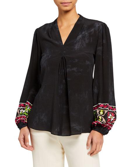 Kobi Halperin Sandra Printed V-Neck Silk Blouse