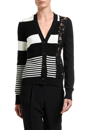 No. 21 Striped Button-Front Cardigan w/ Lace Inset