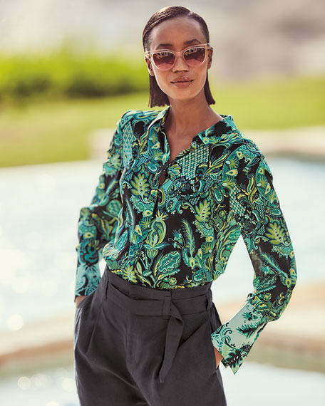Image 2 of 3: Kobi Halperin Lindy Printed Silk Button-Down Blouse
