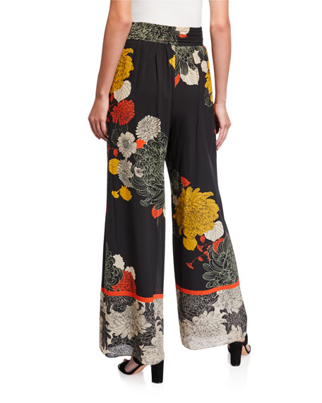 Image 2 of 3: Kobi Halperin Claudia Floral Wide-Leg Stretch Silk Pants