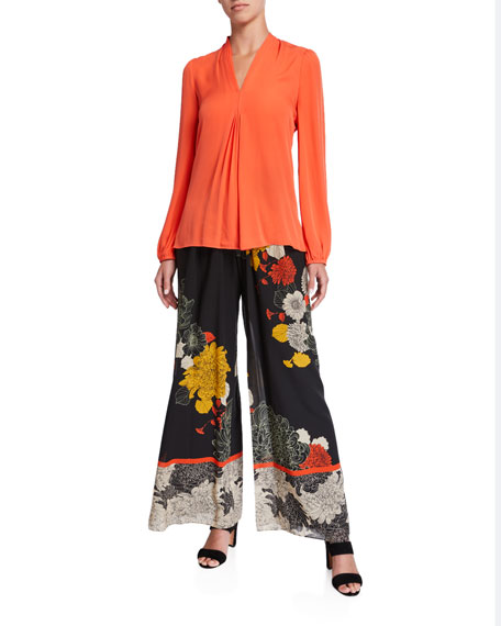 Image 3 of 3: Kobi Halperin Claudia Floral Wide-Leg Stretch Silk Pants