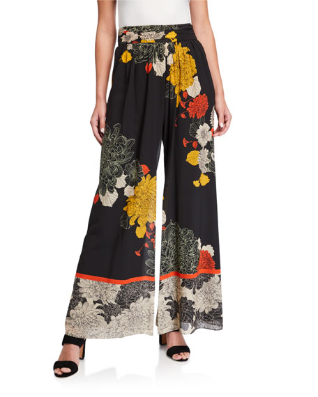 Image 1 of 3: Kobi Halperin Claudia Floral Wide-Leg Stretch Silk Pants