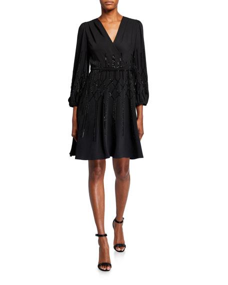 Kobi Halperin Cassie Bead Embellished Long-Sleeve A-Line Dress