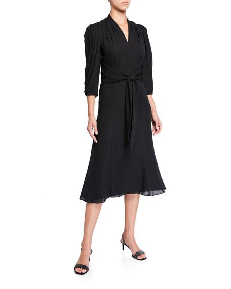 Kobi Halperin Erin V-Neck 1/2-Sleeve Silk Midi Dress