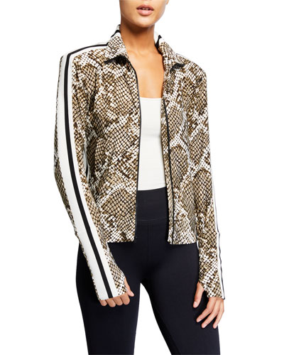 Python-Print Side Stripe Turtleneck Jacket