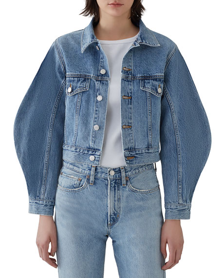 AGOLDE Alik Cropped Denim Jacket with Exaggerated Sleeves